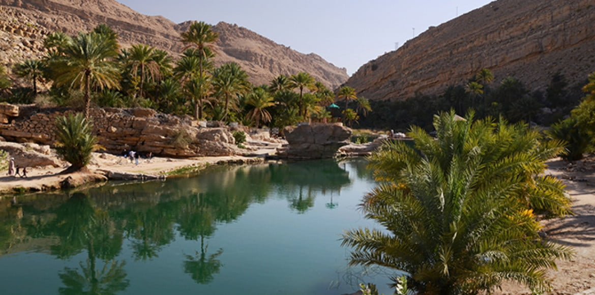 Water pools in Wadi Bani Khalid, Oman, Arabia
