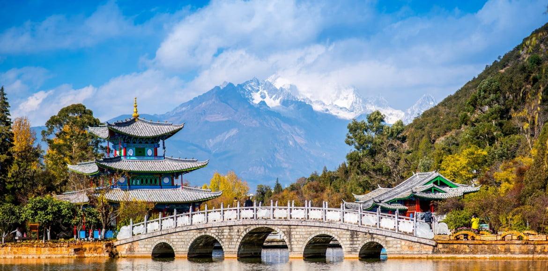 Lijiang old town scene-Black Dragon Pool Park.Yunan China.